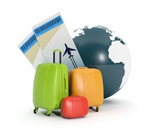 Land and a group of suitcases. To take a vacation rental